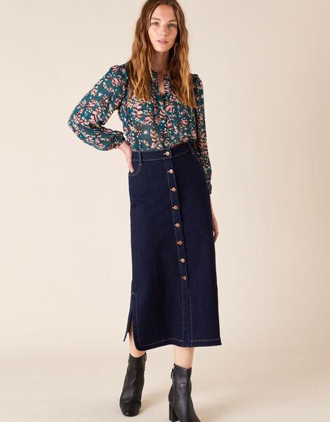 Denim Midi Skirt in Organic Cotton Blue, Blue (DENIM BLUE), large