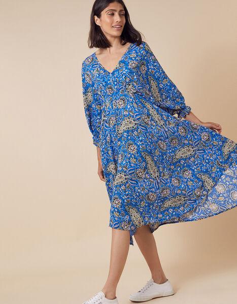 Paisley Hanky Hem Dress in LENZING™ ECOVERO™ Blue, Blue (BLUE), large