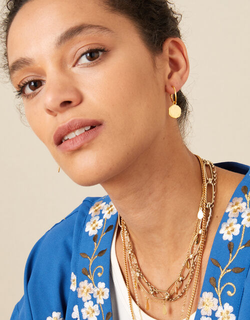 Gold-Plated Coin Hoops, , large
