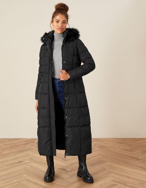 Morgan Hooded Padded Maxi Coat, Black (BLACK), large