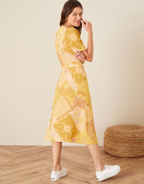Goldie Scarf Print Wrap Dress, Yellow (YELLOW), large