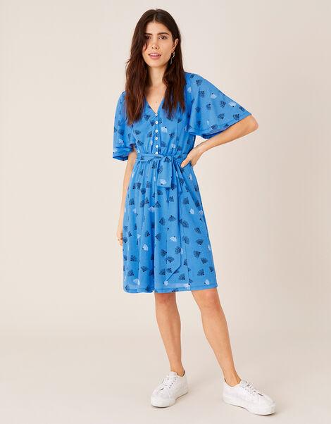 Nancy Printed Tie Belt Short Dress Blue, Blue (BLUE), large