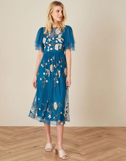 Bailee Embroidered Bird Dress, Blue (AQUA), large