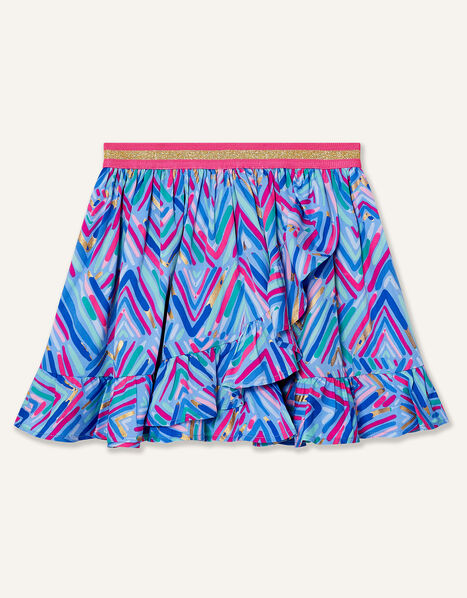 Chevron Foil Print Skirt Blue, Blue (BLUE), large