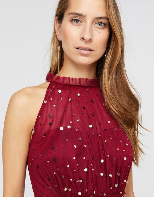 Chiara Tulle Halter Sequin Midi Dress, Red, large