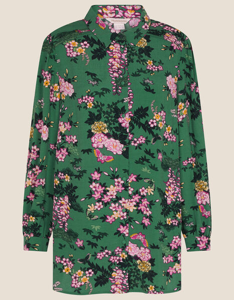 Print Lace Trim Shirt , EMERALD, large