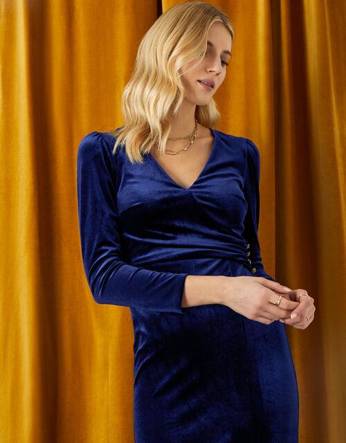 Shelly Plain Velvet Dress, Blue (BLUE), large