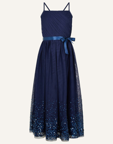 Lana Sequin Hem Maxi Prom Dress Blue, Blue (NAVY), large