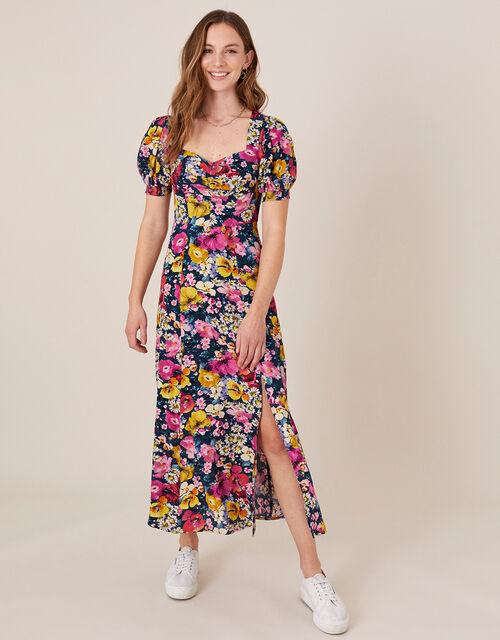 Gloria Mixed Floral Midi Dress, Blue (NAVY), large
