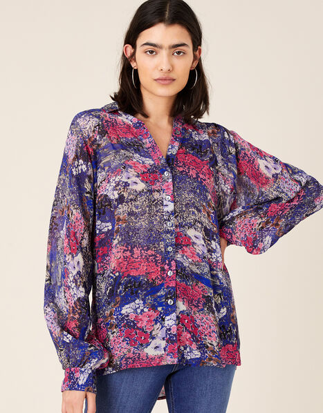 Printed Dolman Sleeve Shirt Blue, Blue (NAVY), large
