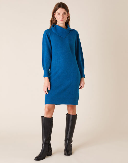 Split Neck Knit Dress, Blue (BLUE), large
