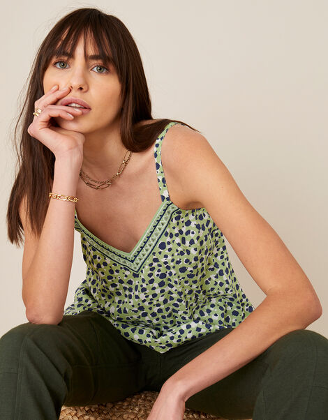 Animal Print Cami in LENZING™ ECOVERO™ Green, Green (GREEN), large
