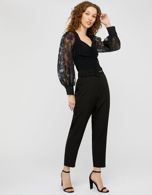 Amina Floral Organza Sleeve Top, Black (BLACK), large