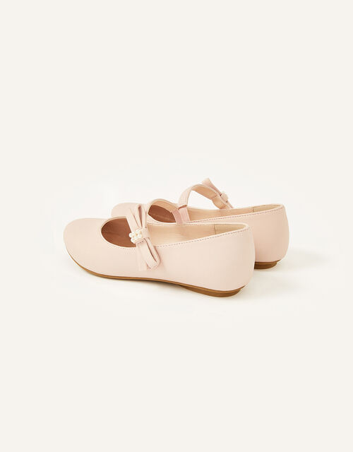 Shimmer Pearl Bow Ballerina Flats , Pink (PINK), large