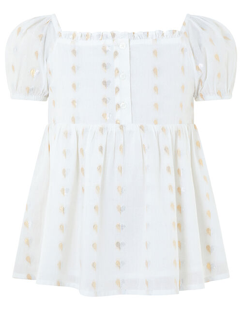 Millie Woven Heart Top, Ivory (IVORY), large