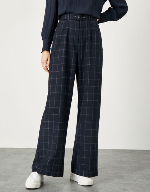 Charlie Check Belted Trousers, Blue (NAVY), large