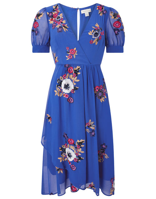 Lucia Floral Sequin Tea Dress, Blue (BLUE), large