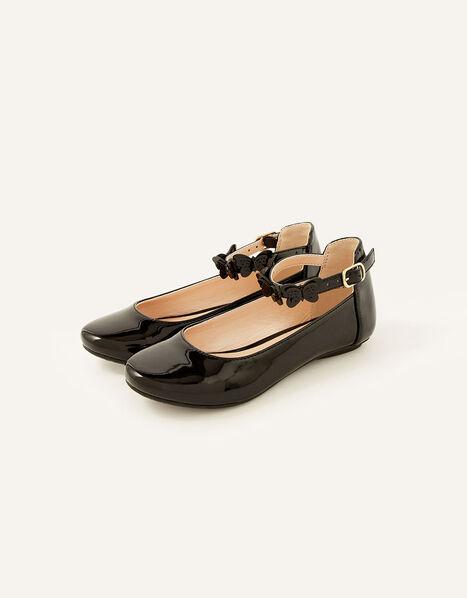 Patent Butterfly Strap Ballerina Flats  Black, Black (BLACK), large