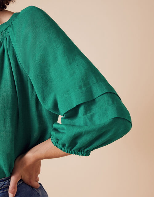Relaxed Blouse in Linen Gauze, Green (GREEN), large