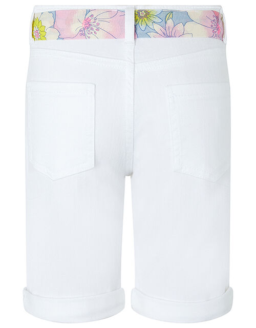 Dawn Denim Shorts with Floral Belt, White (WHITE), large