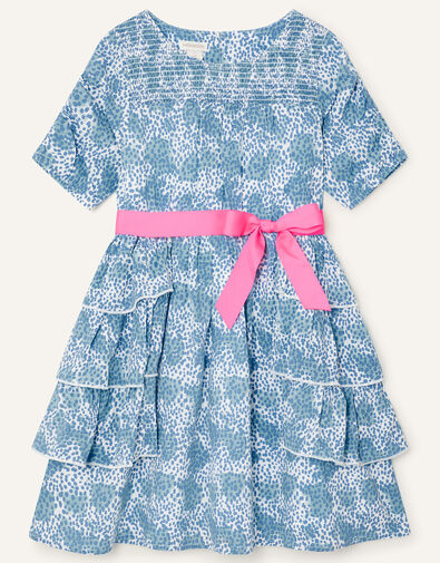Ditsy Floral Tiered Dress Blue, Blue (BLUE), large