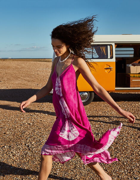 Kali Tie Dye Hanky Hem Dress Pink, Pink (PINK), large