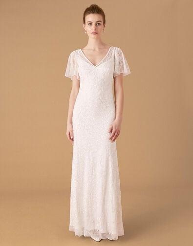 Kitty Embellished Flutter Sleeve Bridal Dress Ivory, Ivory (IVORY), large