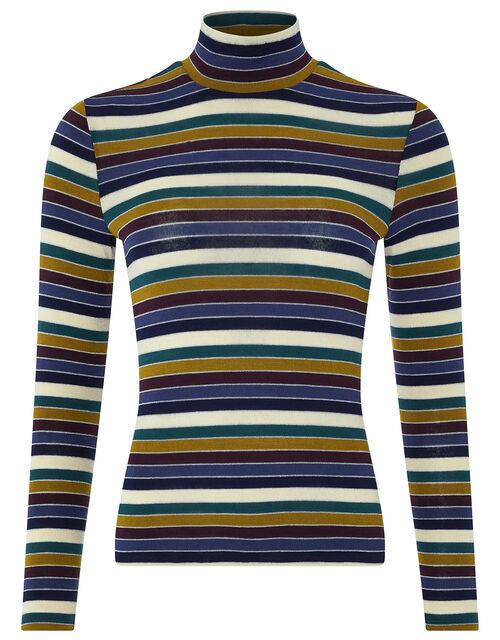 Stella Stripe Polo Neck Top, Multi, large
