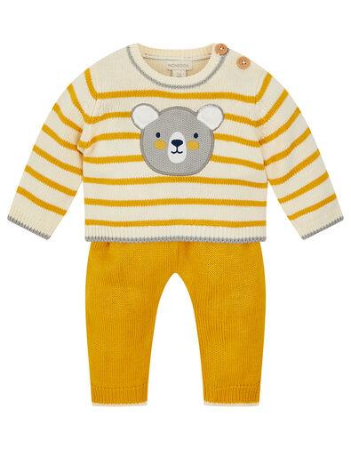 Newborn Bear Stripe Knit Set Yellow, Yellow (MUSTARD), large
