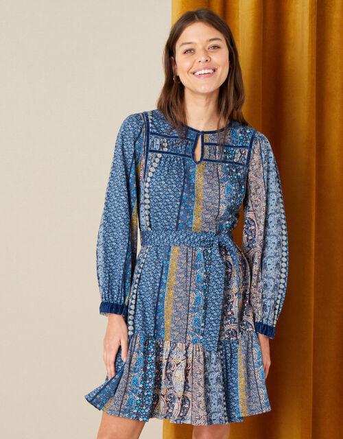 Paisley Print Dress, Teal (TEAL), large