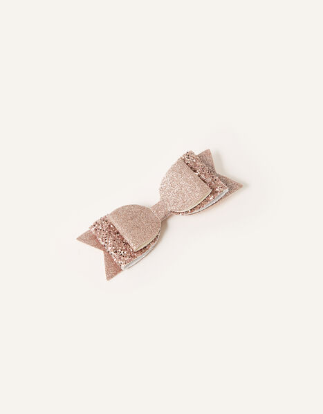 Glitter Loop Bow Hair Clip, , large