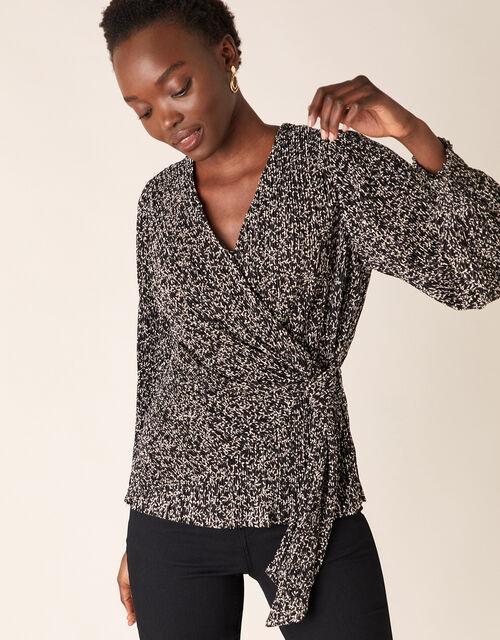 Printed Jersey Plisse Wrap Top, Black (BLACK), large