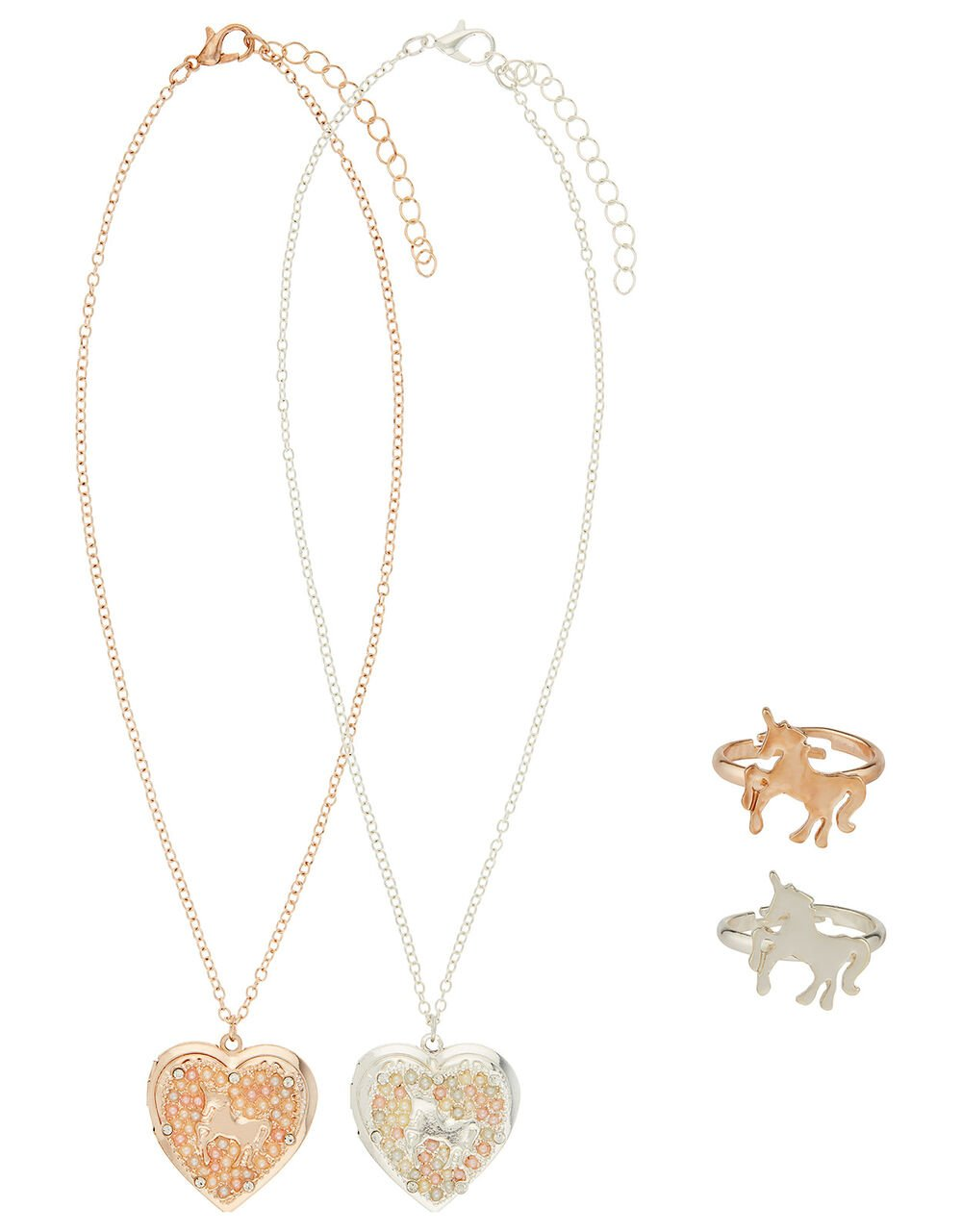 Unicorn Tear-and-Share Locket and Ring Set, , large