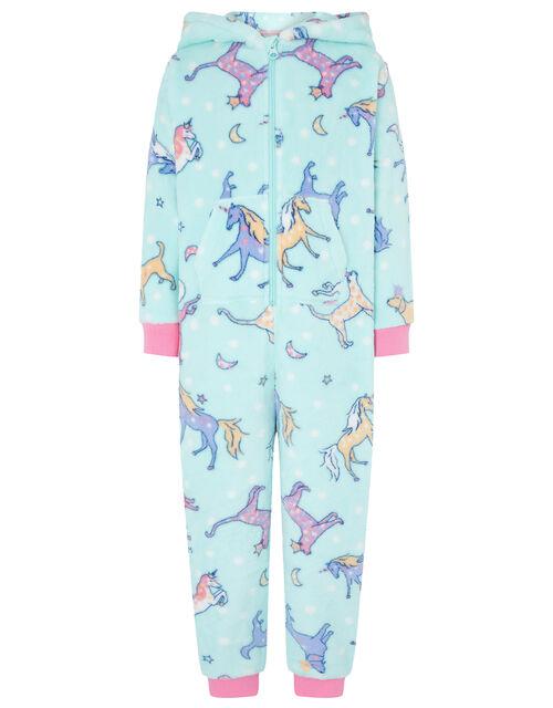 Unicorn Sleepsuit with Recycled Fabric, Blue (AQUA), large