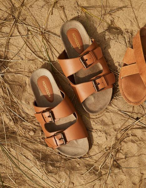 Lola Double Strap Leather Sandals Tan, Tan (TAN), large