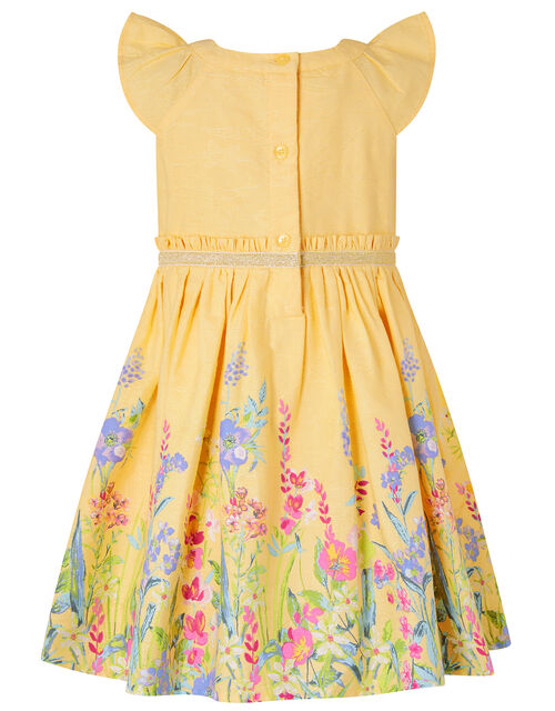 Baby Bexley Floral Dress in Pure Cotton, Yellow (YELLOW), large