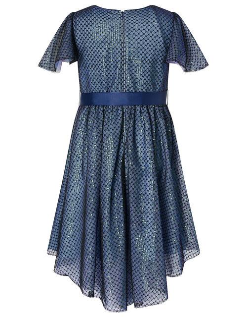 Sequin Flutter Sleeve Dress, Blue (NAVY), large