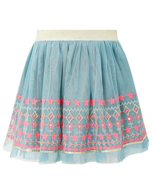 Embroidered Sequin Disco Skirt, Teal (TEAL), large
