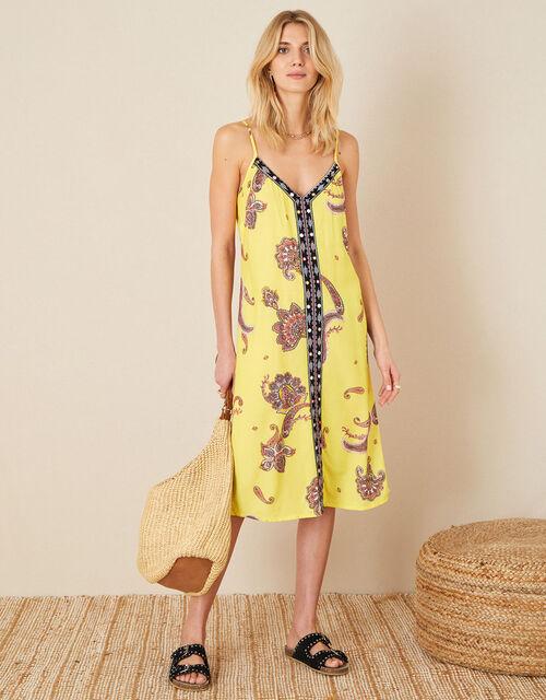 Ashley Paisley Print Dress, Yellow (YELLOW), large