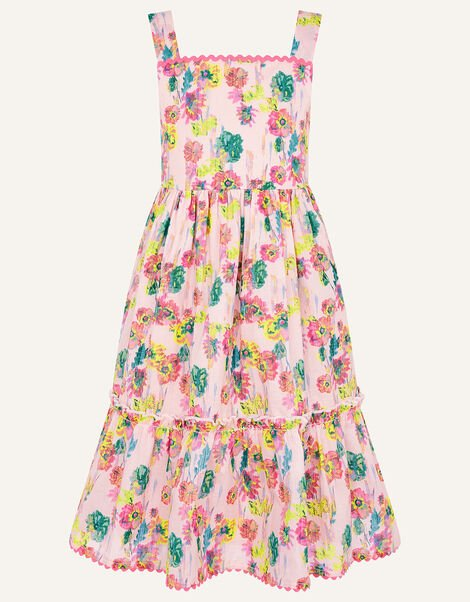 Painterly Floral Dress in Organic Cotton  Pink, Pink (PALE PINK), large