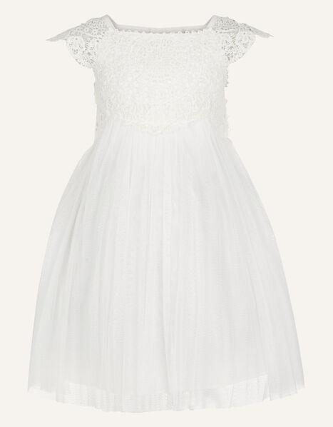 Baby Estella Lace Bodice Occasion Dress Ivory, Ivory (IVORY), large