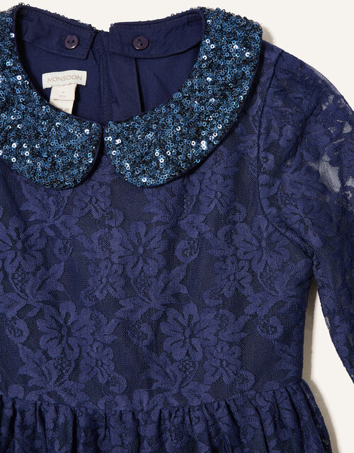 Lace Dress with Detachable Collar , Blue (NAVY), large