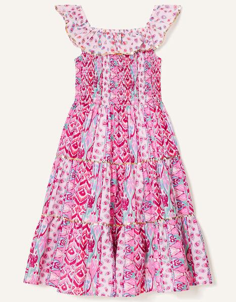 Aztec Shirred Frill Dress Pink, Pink (PINK), large