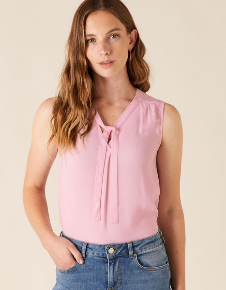 Tie Front Sleeveless Top with LENZING™ ECOVERO™ Pink, Pink (BLUSH), large