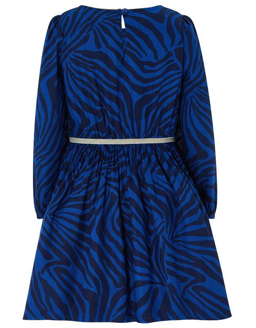 Christie Zebra Dress, Blue (BLUE), large