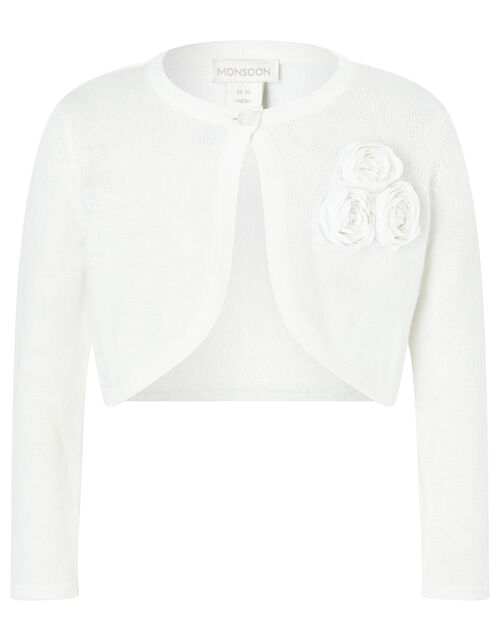 Baby Colette Cardigan in Organic Cotton, Ivory (IVORY), large
