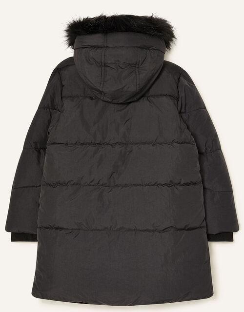 Asymmetric Ruffle Coat, Black (BLACK), large