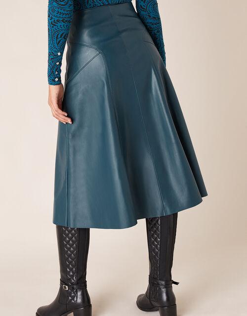 Leather-Look Midi Skirt, Teal (TEAL), large