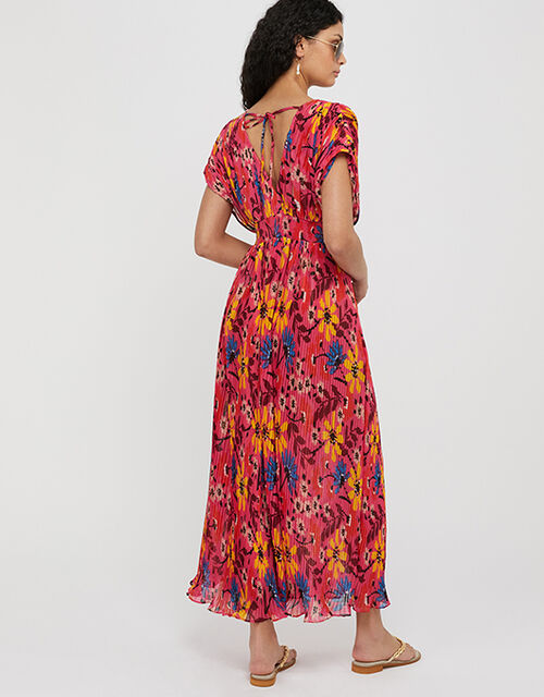 Nellie Floral Pleated Kaftan Dress in Recycled Fabrics, Pink (PINK), large