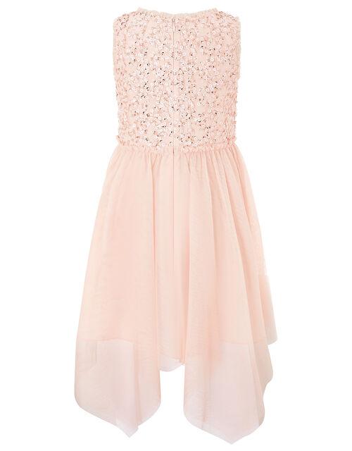 Sequin Hanky Hem Dress, Orange (PEACH), large